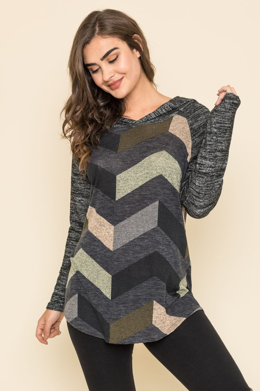 Charcoal Raglan Chevron Hoodie Tunic_Plus