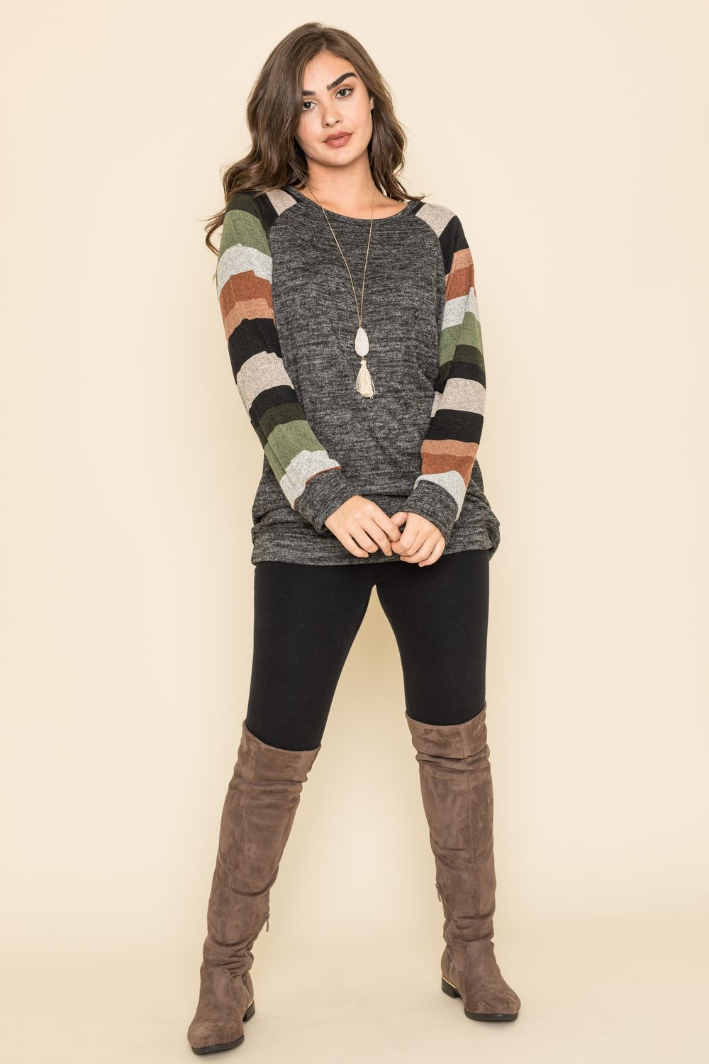 Black & Olive Stripe Raglan Sleeve Tunic