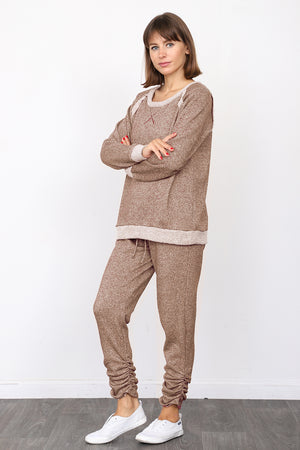 Mocha Shimmer French Terry Top & Jogger Set