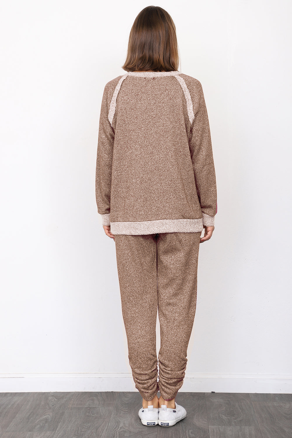 Mocha Shimmer French Terry Top & Jogger Set_Plus
