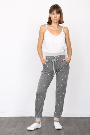 Grey Band Charcoal Polka Dot Drawstring Jogger