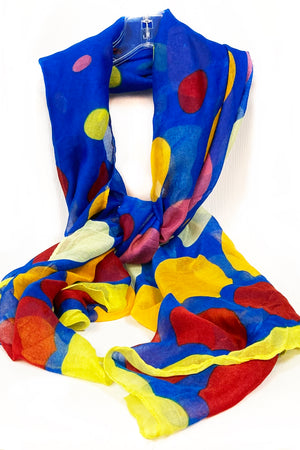 Blue & Yellow Multi Color Dots Scarf