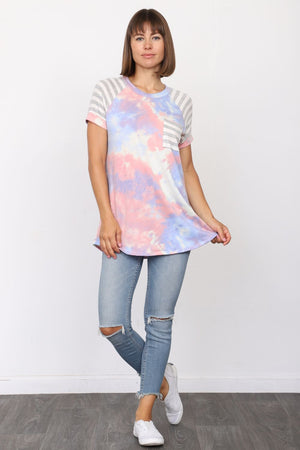 Pink & Baby Blue Cloud Tie-Dye Grey Stripe Raglan Top with Chest-Pocket