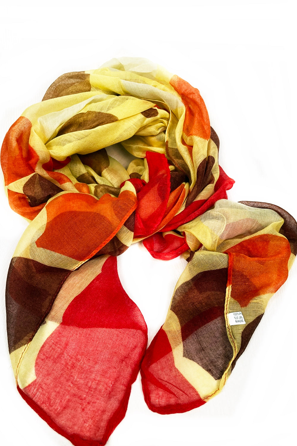 Yellow & Red Multi Color Dots Scarf