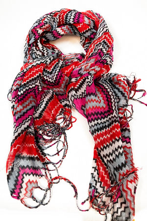 Red Magenta & Grey Zig Zag Scarf with Tassel