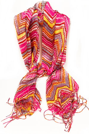 Magenta Yellow & Grey Zig Zag Scarf with Tassel