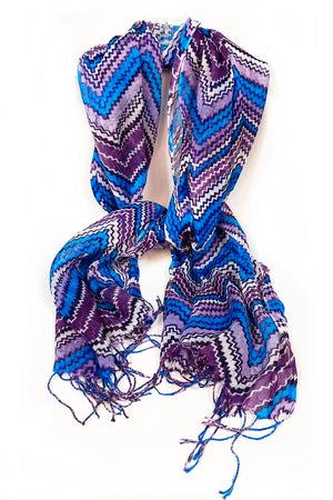 Purple & Blue Zig Zag Scarf with Tassel