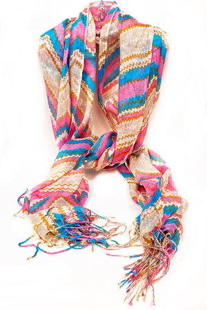 Pink & Blue Zig Zag Scarf with Tassel