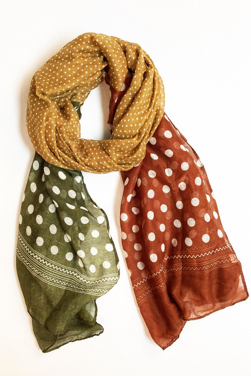Mustard Olive & Brown Polka Dot Scarf