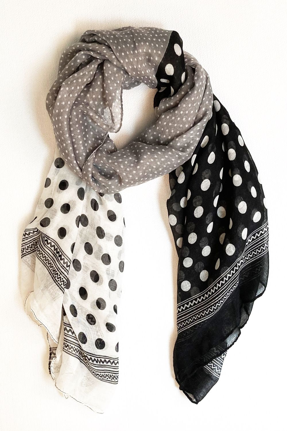 Grey Black & White Polka Dot Scarf