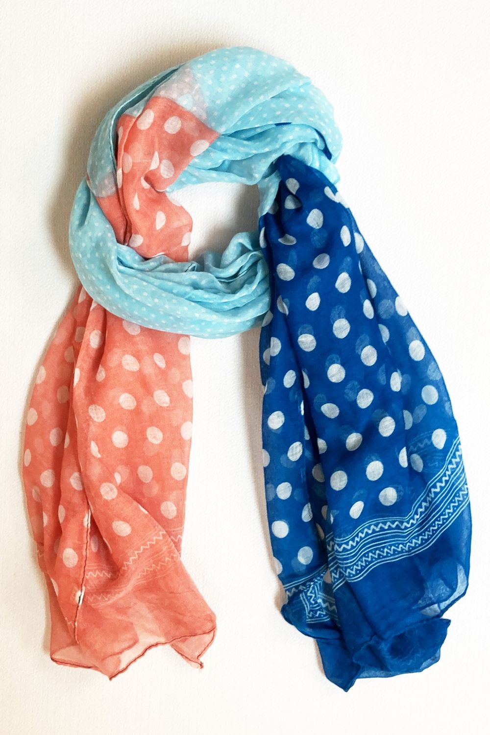 Mint Pink & Blue Polka Dot Scarf