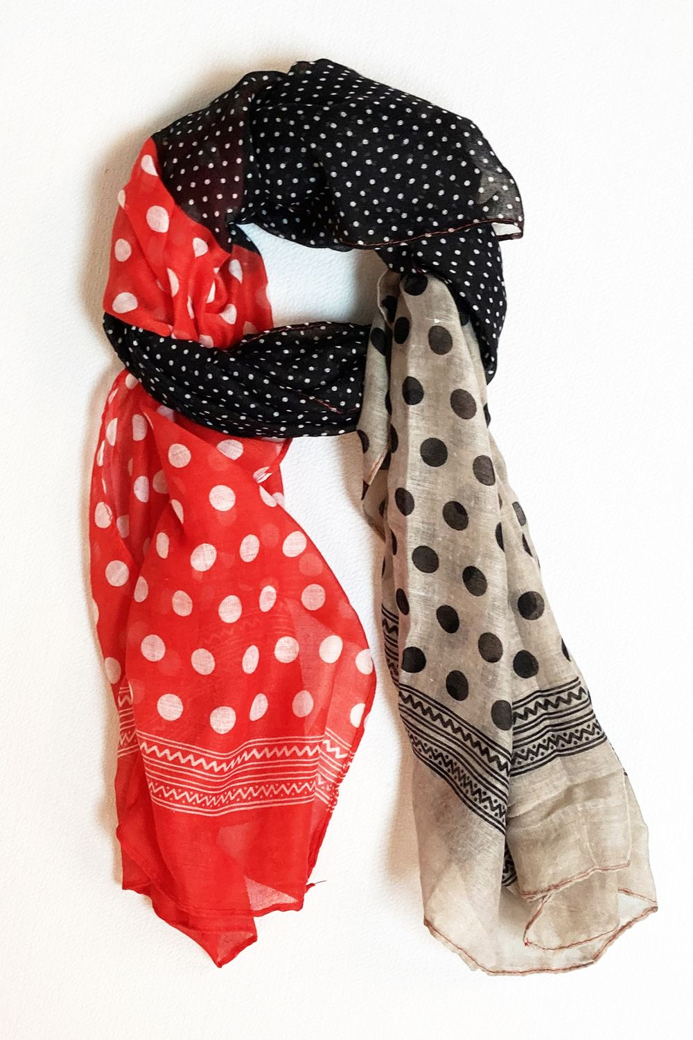 Black Red & Grey Polka Dot Scarf