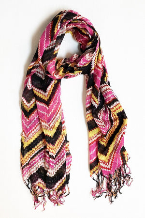 Magenta Black & Yellow Zig Zag Scarf with Tassel