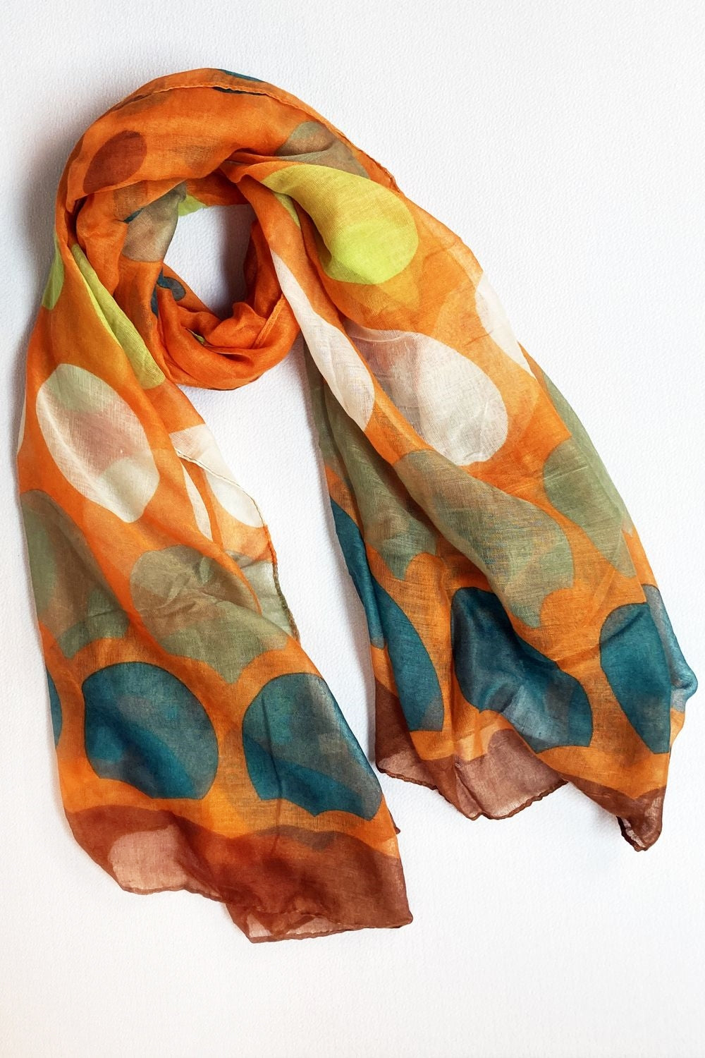 Orange & Brown Multi Color Dots Scarf