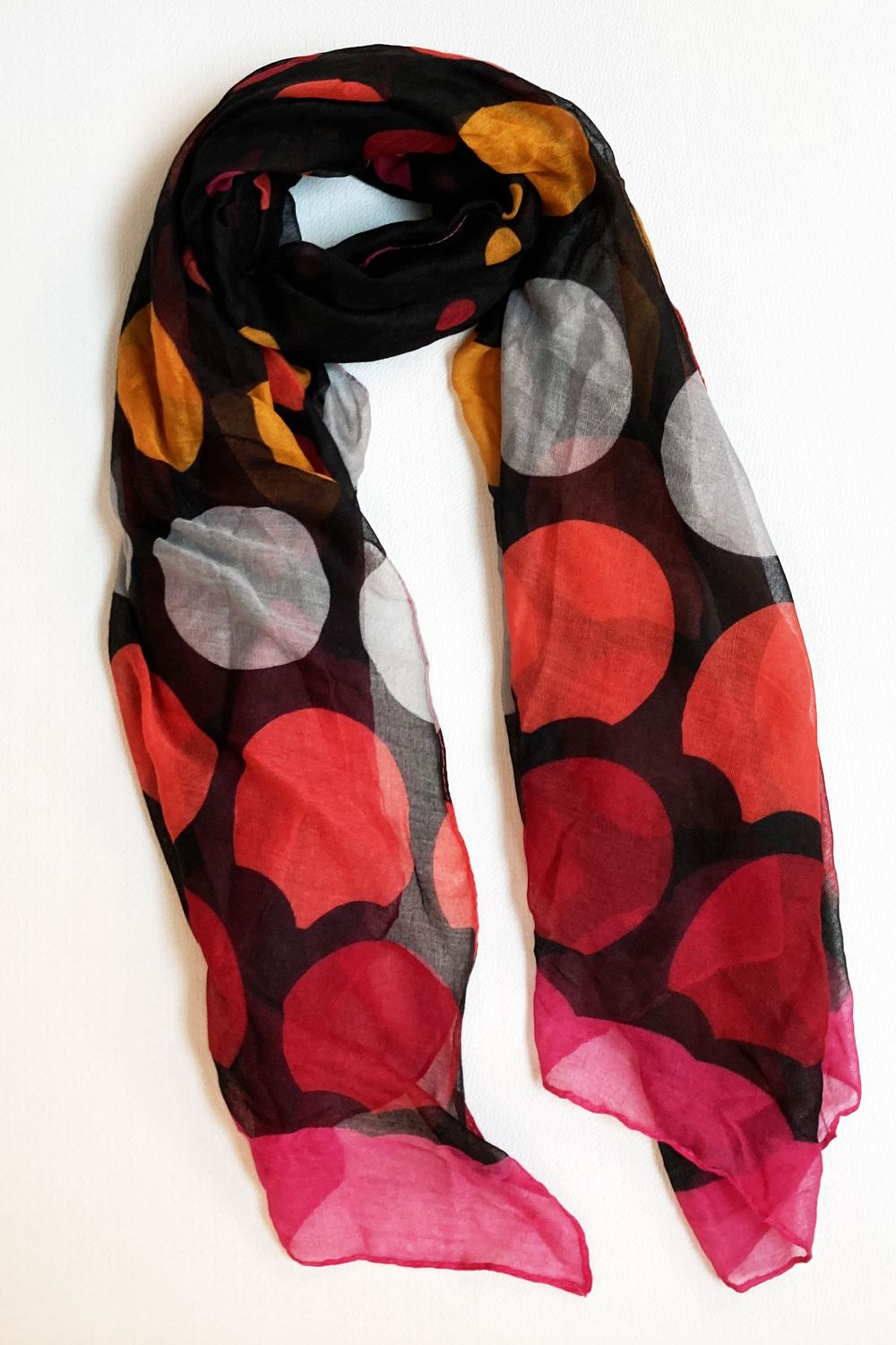 Black & Magenta Multi Color Dots Scarf