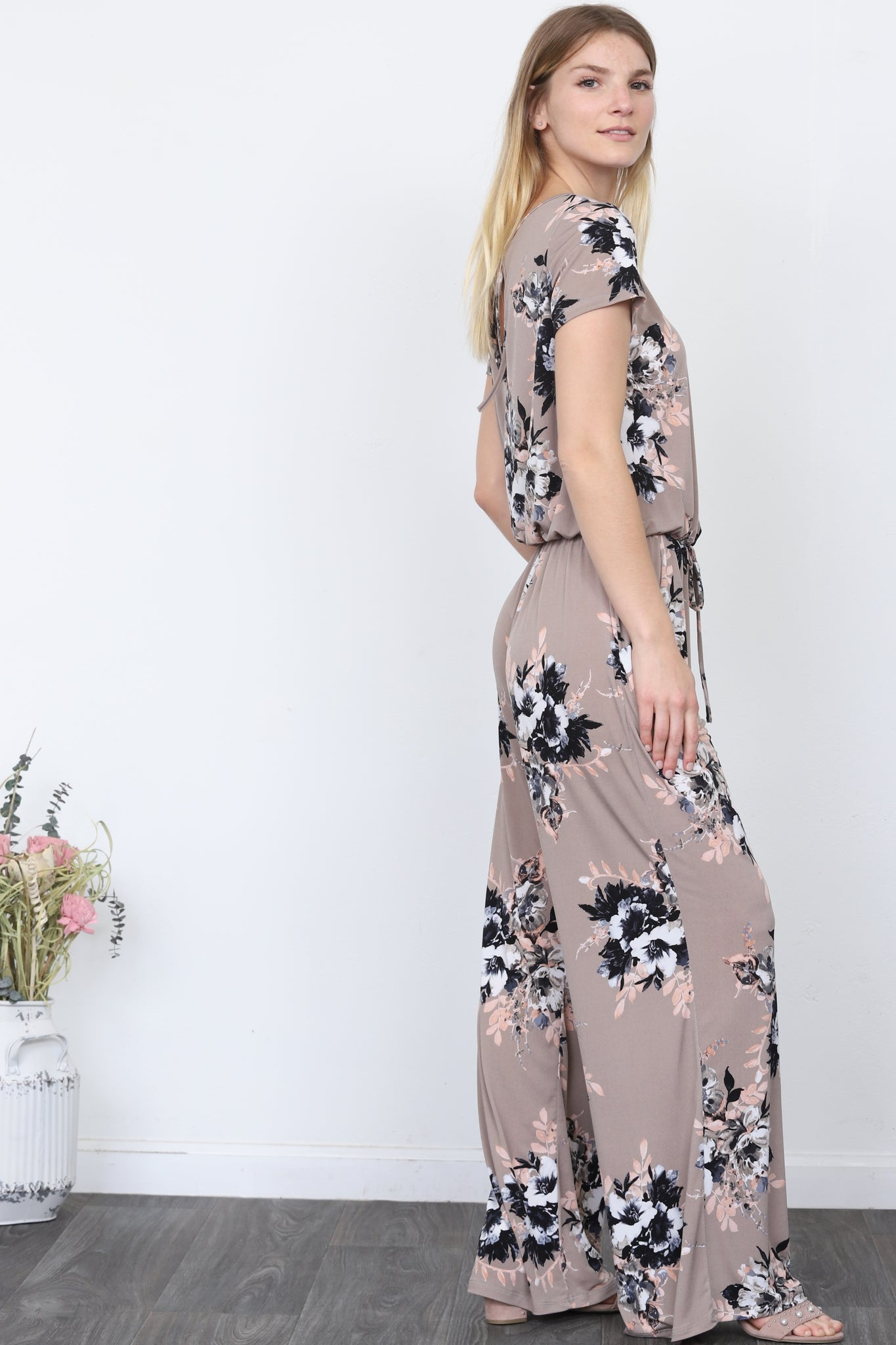 Floral Mocha Short Sleeve Jumpsuit