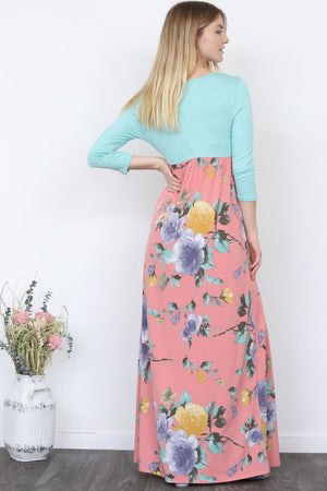 Mint Top Pink Floral Maxi Dress