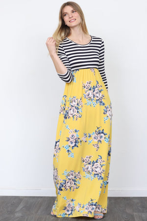 Stripe Top Mustard Floral Maxi Dress