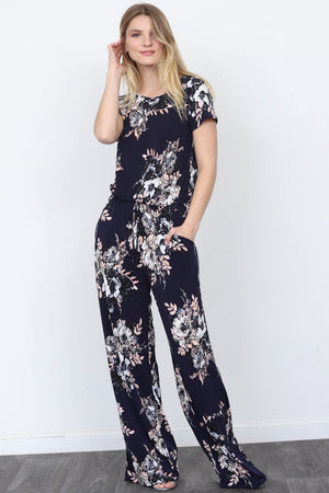 Navy Floral Short Sleeve Jumpsuit