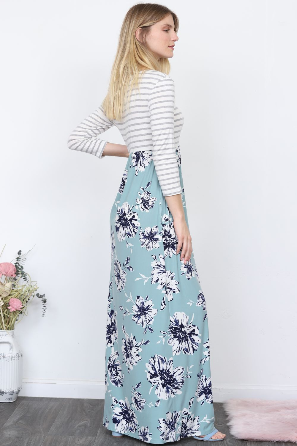 Stripe Top Blue Floral Maxi Dress
