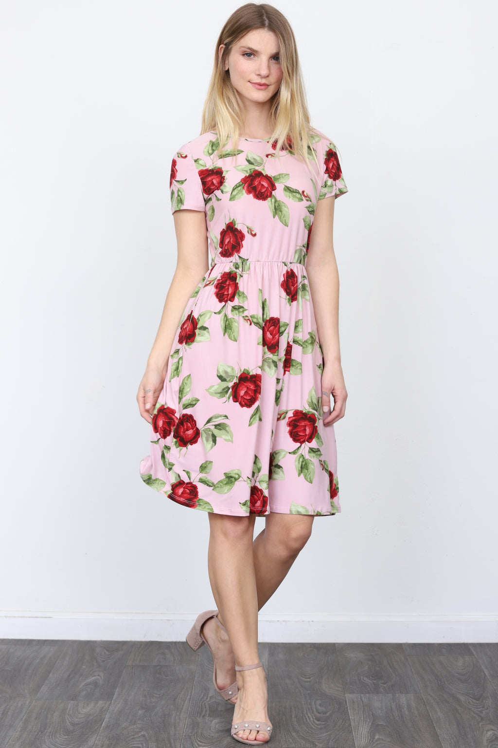 Rose Short Sleeve Midi Dress