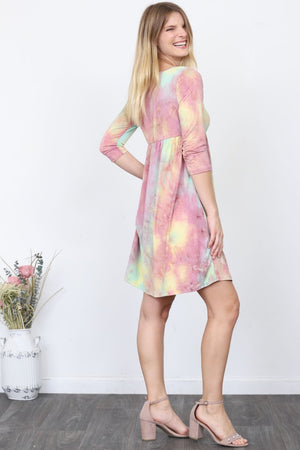 High Waist Tie-Dye Mini Dress_Plus
