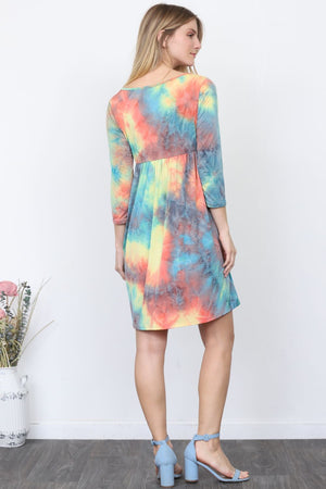 Tropical Tie-Dye Mini Dress