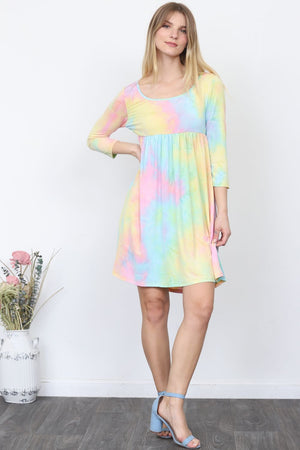 Pastel Hologram Tie-Dye Mini Dress