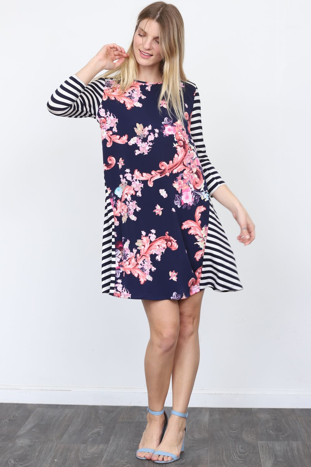 Navy Pink Floral Stripe Sleeve Mini Dress