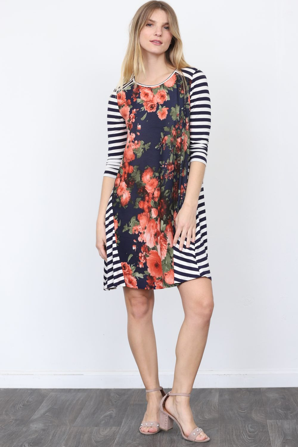 Navy Coral Floral Stripe Sleeve Mini Dress