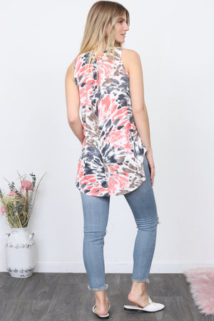 Pink & Mocha Watercolor Sleeveless Tunic