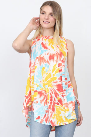 Yellow & Pink Watercolor Sleeveless Tunic