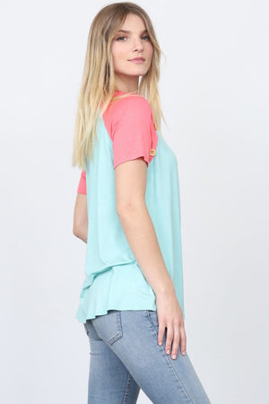 Mint & Coral Raglan Button Accent Top