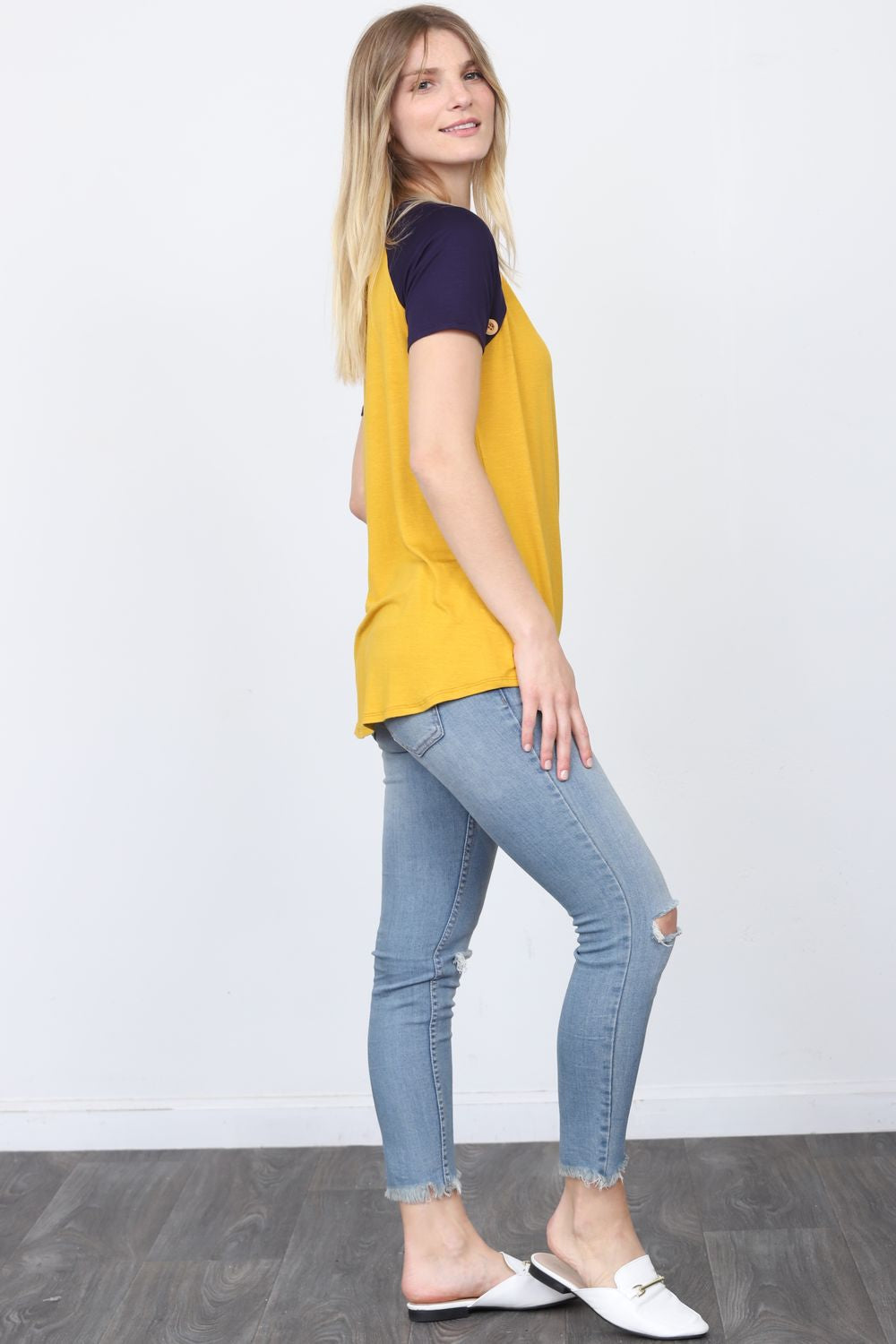 Mustard & Navy Raglan Button Accent Top_Plus