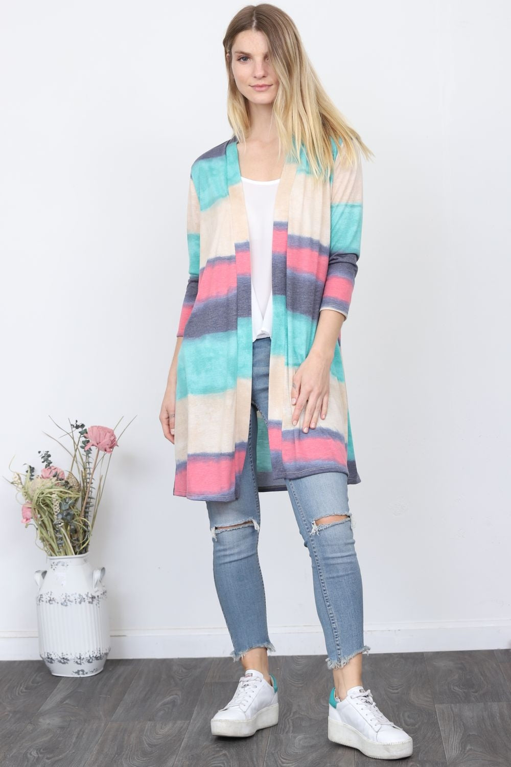 Turquoise & Pink Watercolor Long Stripe Cardigan