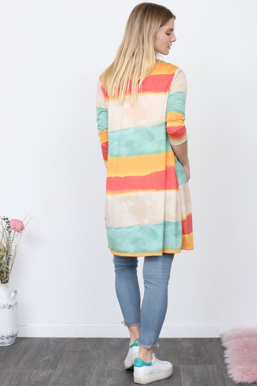Coral & Mint Watercolor Long Stripe Cardigan