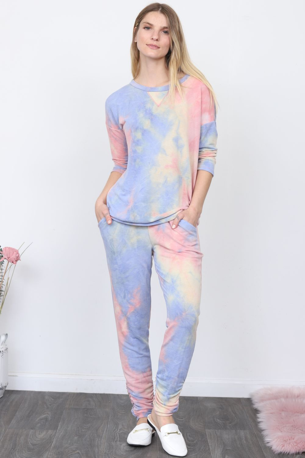 Pink & Baby Blue Tie Dye Top & Jogger Set
