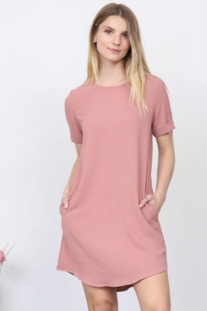 Dust Pink Curved-Hem Mini Dress