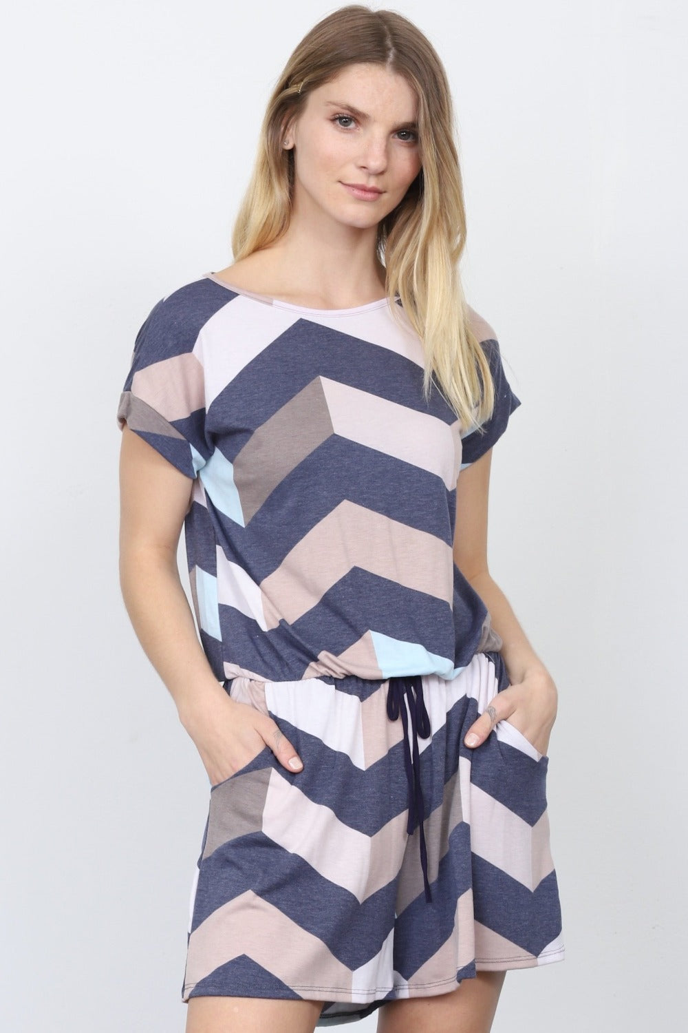 Navy Mint Drawstring Chevron Romper