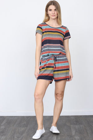 Drawstring pocket multi stripe romper