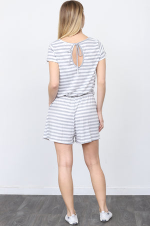 Grey Stripe Short Sleeve Romper_Plus