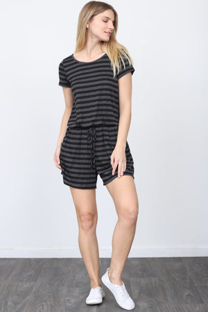 Charcoal & Black Stripe Short Sleeve Romper_Plus