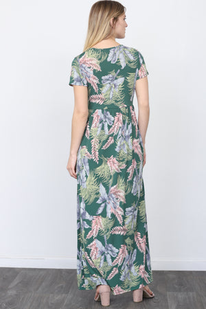 Short Sleeve Leaf Maxi Dress