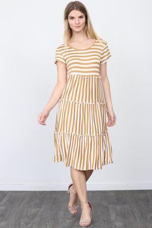 Mustard Ruffle Tiered Short Sleeve Midi Dress