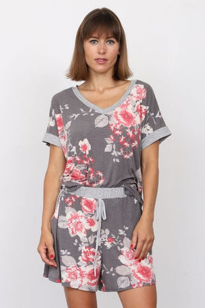 Charcoal & Coral Floral V-Neck Top & Shorts Set
