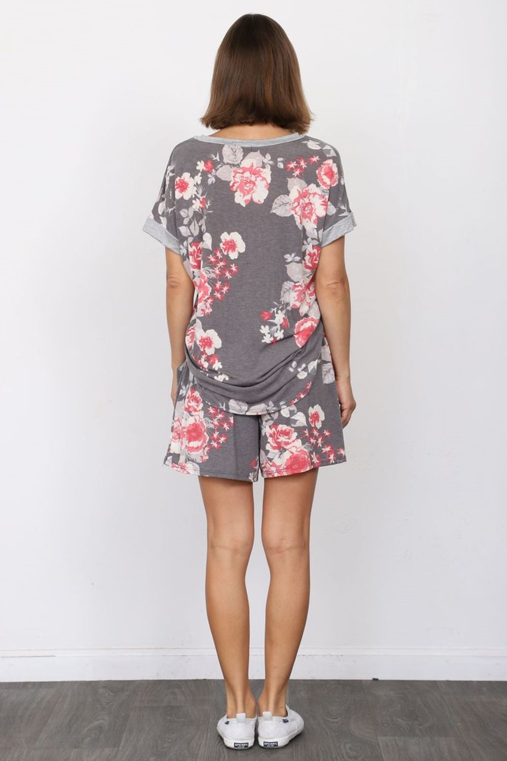 Charcoal & Coral Floral V-Neck Top & Shorts Set_Plus