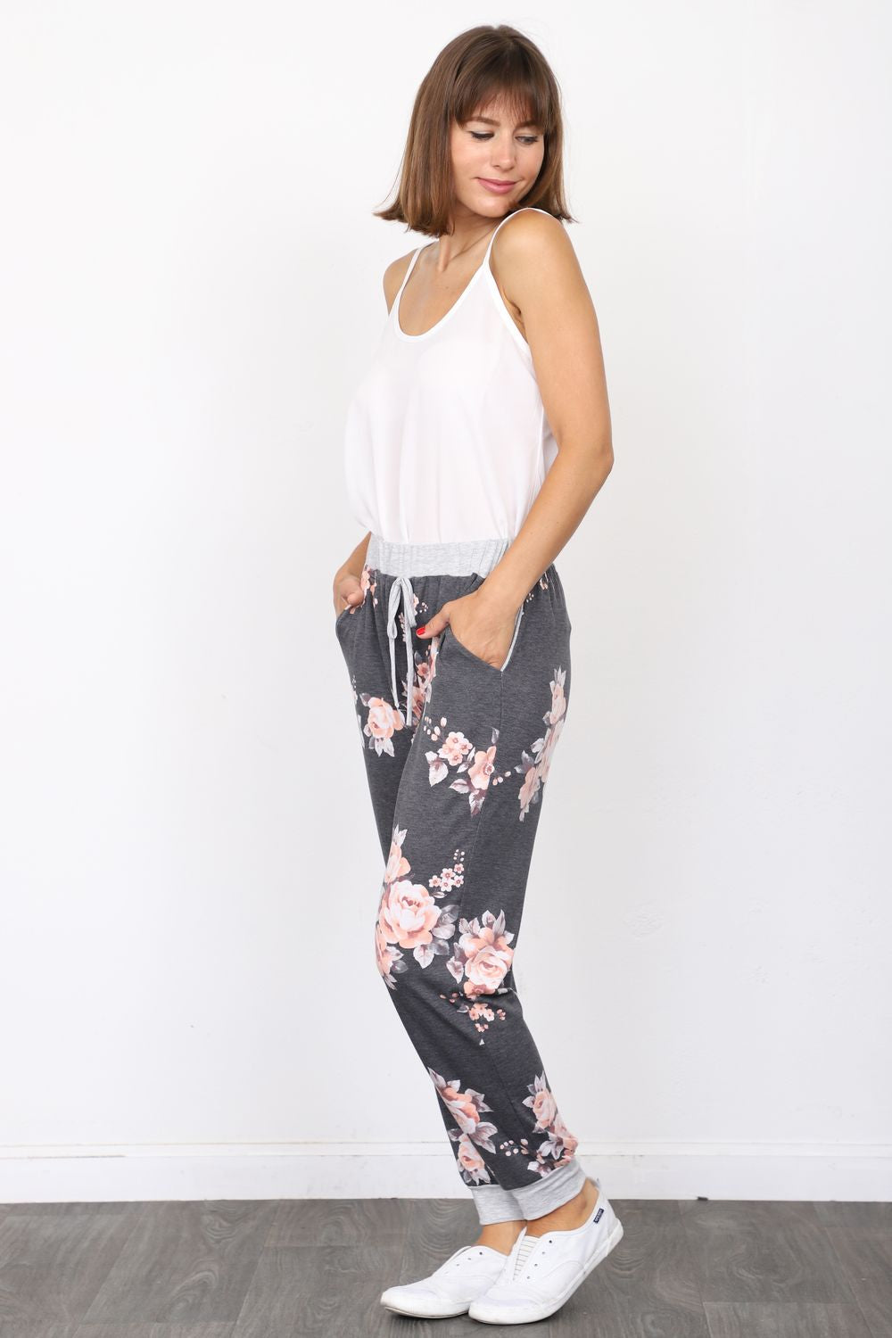 Charcoal & Coral Floral Jogger