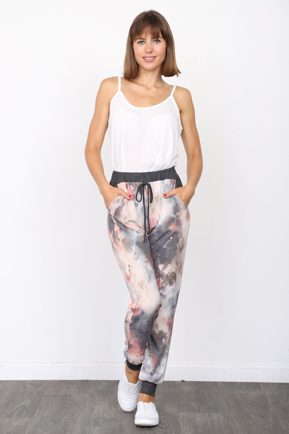 Charcoal Pink Tie Dye Jogger Pants_Plus