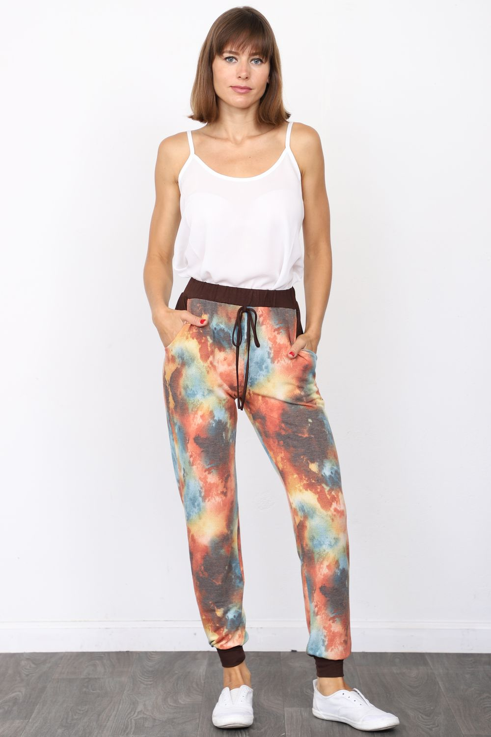 Brown & Orange Mint Tie Dye Jogger Pants_Plus