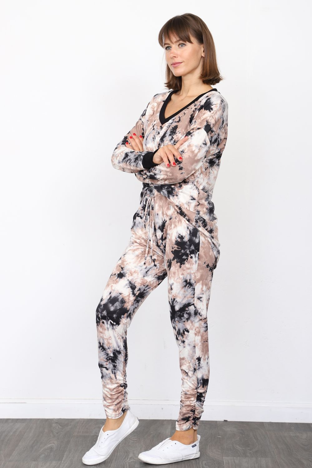 Black Mocha Tie Dye V-Neck Top & Jogger Set
